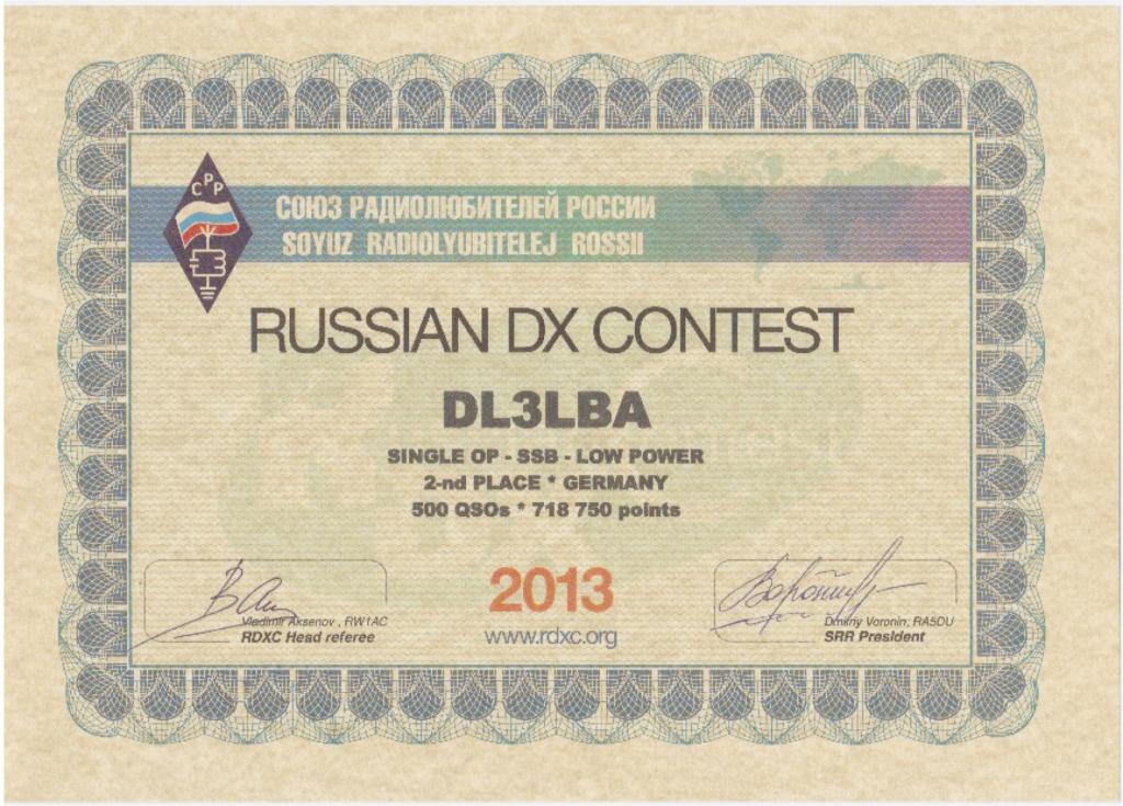 Zweiter Platz in Deutschland im RDXC 2013 (SOAB SSB LP)